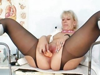 blond mother i in latex uniform extreme dildo