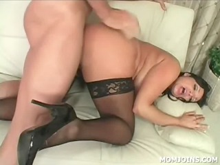 mamma in stockings gets pussy fucked doggie