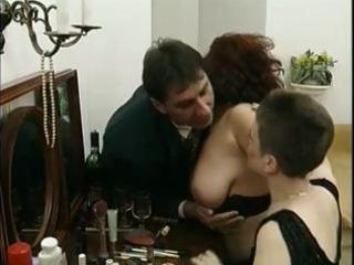 horny breasty mommy shares a massive cock with a