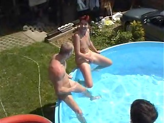 milf takes on a bunch of guys at a pool (part 1)