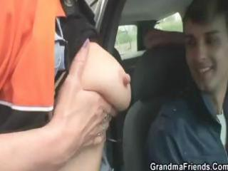 blonde granny gets taken to the woods and nailed