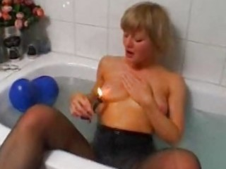 golden-haired amateur wife toying and masturbating