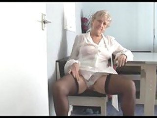 handsome granny in short skirt strips