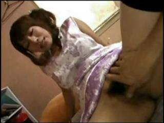 busty, hairy japanese milf receives cock to eat