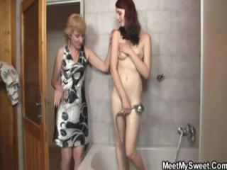 blonde mommy interrupts daughters shower and