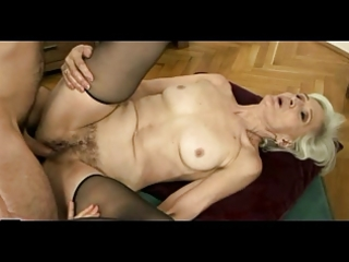 grey haired granny in nylons gets cum on her