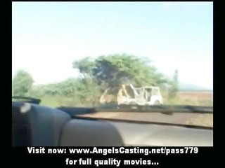 hot lesbo allies riding car and toying and