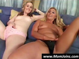 hawt blonde mom and her cute daughter share this