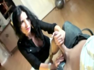 raven milf flashes and tugs her teenies hard dick