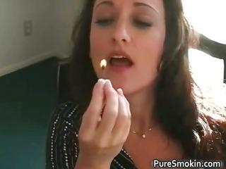 sexy brunette michelle smokes cigarette part3