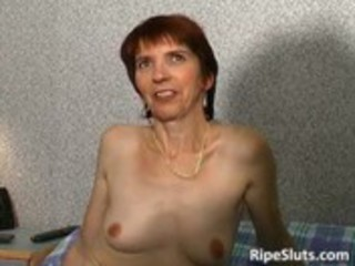 horny older redhead bitch receives her cock
