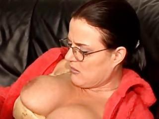 shaggy german mature on sofa