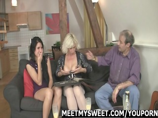 hotty gets drilled by her bfs family