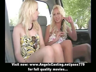 hot blond lesbo babes flashing tits during the
