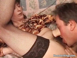 concupiscent fellow licks unshaved bush of his