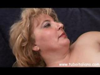 chubby mature italian blonde granny receives trio