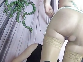 a sexy mature gets fucked in tan lace top nylons
