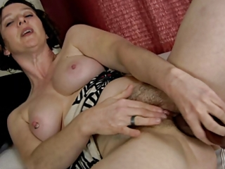 pervert hairy milf and her dildo (masturbation)
