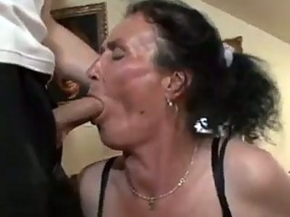 breasty brunette granny gets naughty pussy