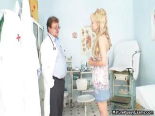 horny doctor humiliated a aged golden-haired mom