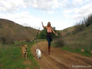 big titted milf enjoys hiking naked