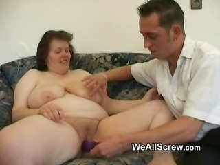 younger lad dildos old womans ass and bonks her