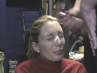 wife receieving huge facial in the garage