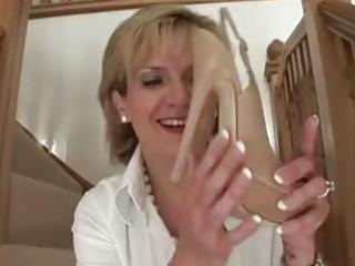 aged femdom brit shoe posing naked