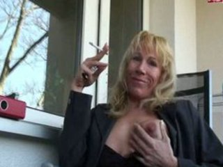 sexy aged sweetheart smokin on patio
