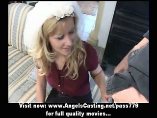 amateur lovely blond bride priceless talking and