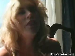 excellent blond milf smokes cigarette