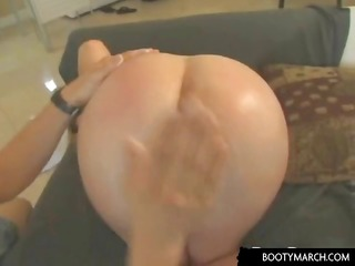 blonde girl with tight fur pie gives head