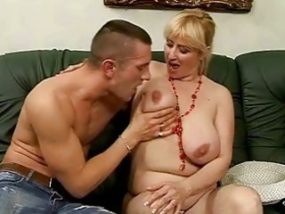 lusty breasty granny fucking with young man