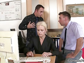 old blond takes cocks