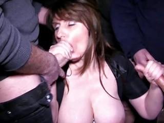 breasty brunette milf receives into a bukkake